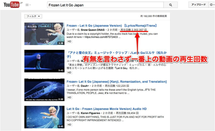 Frozen Let It Go ◯◯で検索!