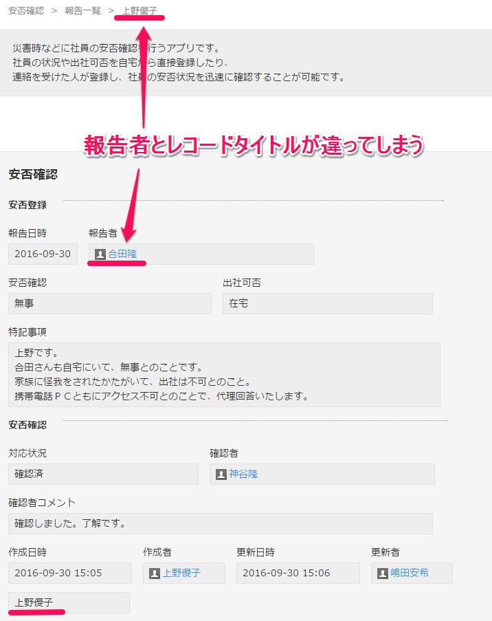代理回答の場合、作成者と安否情報登録ユーザーが違ってしまいます