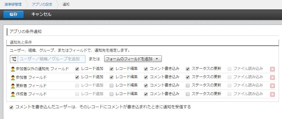 レコードが追加されたら、「参加者」「参加者以外の通知先」のユーザーに通知